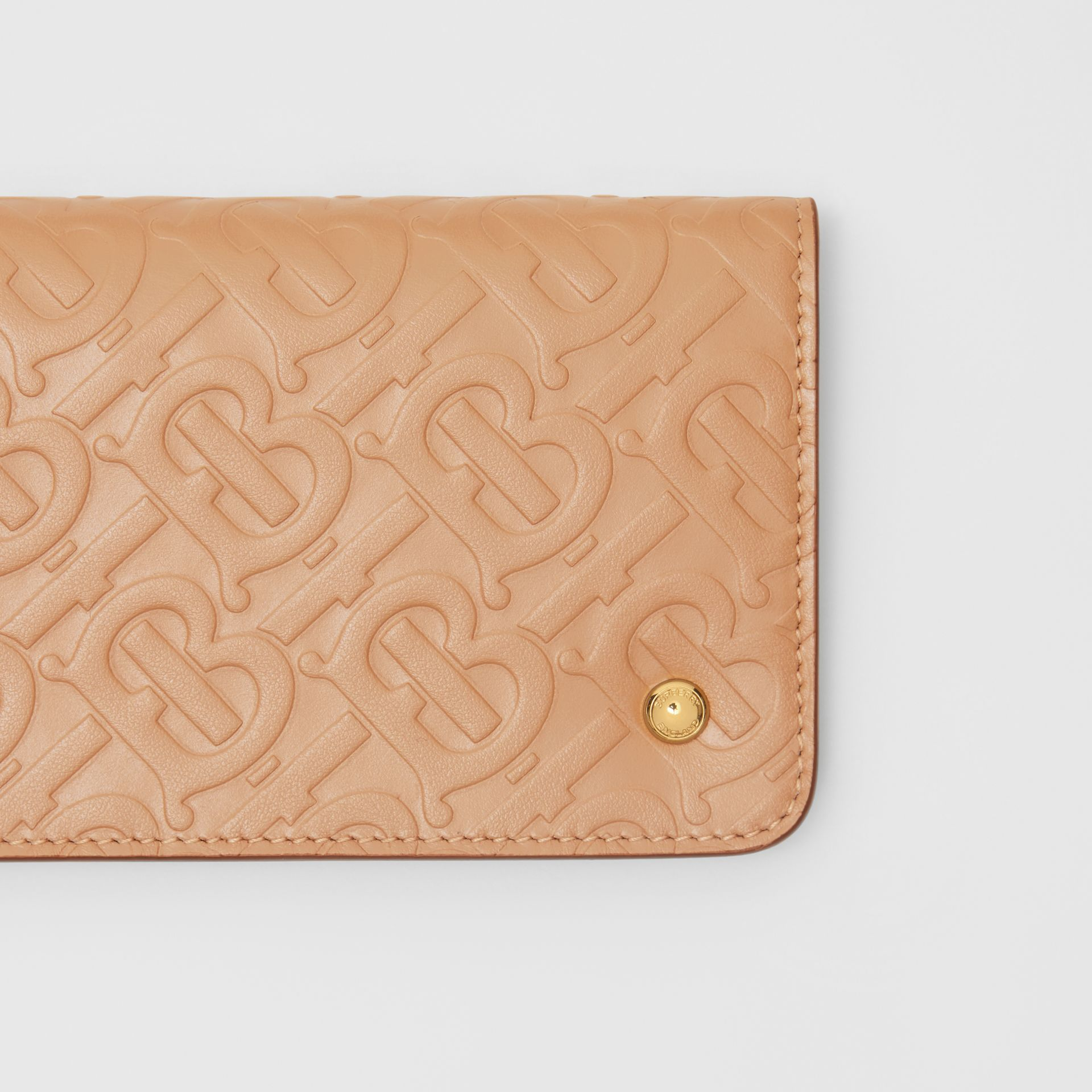 Monogram Leather Phone Wallet in Light Camel | Burberry - gallery image 1
