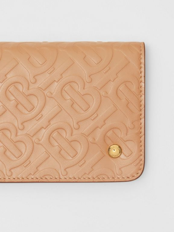 Monogram Leather Phone Wallet in Light Camel - Women | Burberry - cell image 1