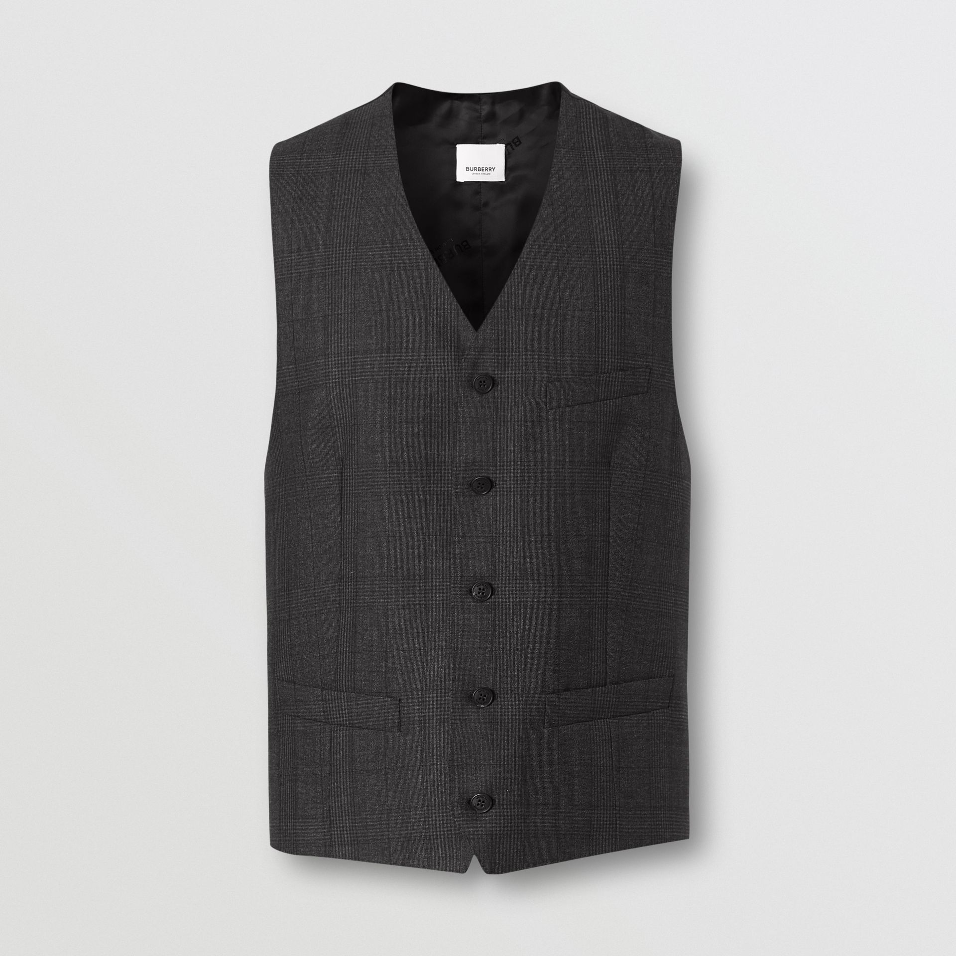 Classic Fit Check Wool Three-piece Suit in Charcoal Melange - Men | Burberry - gallery image 7