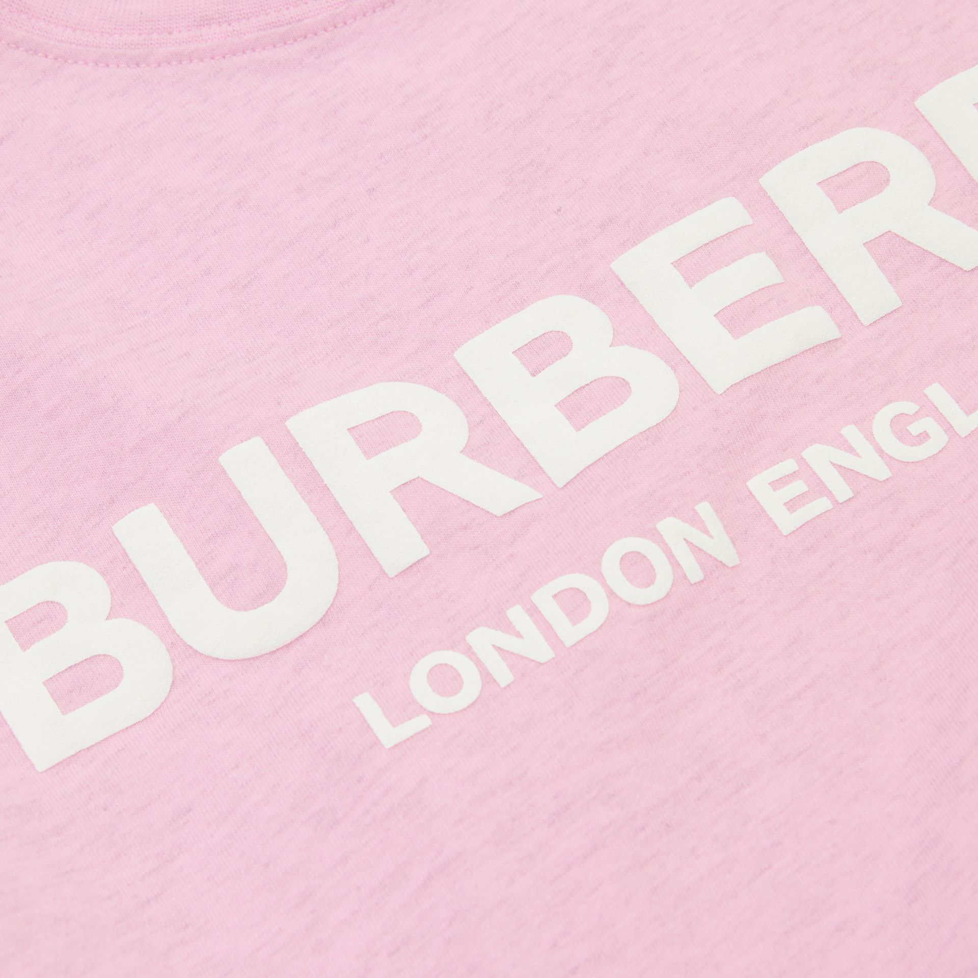 Logo Print Cotton T-shirt in Pale Neon Pink | Burberry - gallery image 1