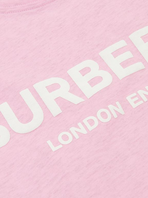 Logo Print Cotton T-shirt in Pale Neon Pink | Burberry United Kingdom - cell image 1