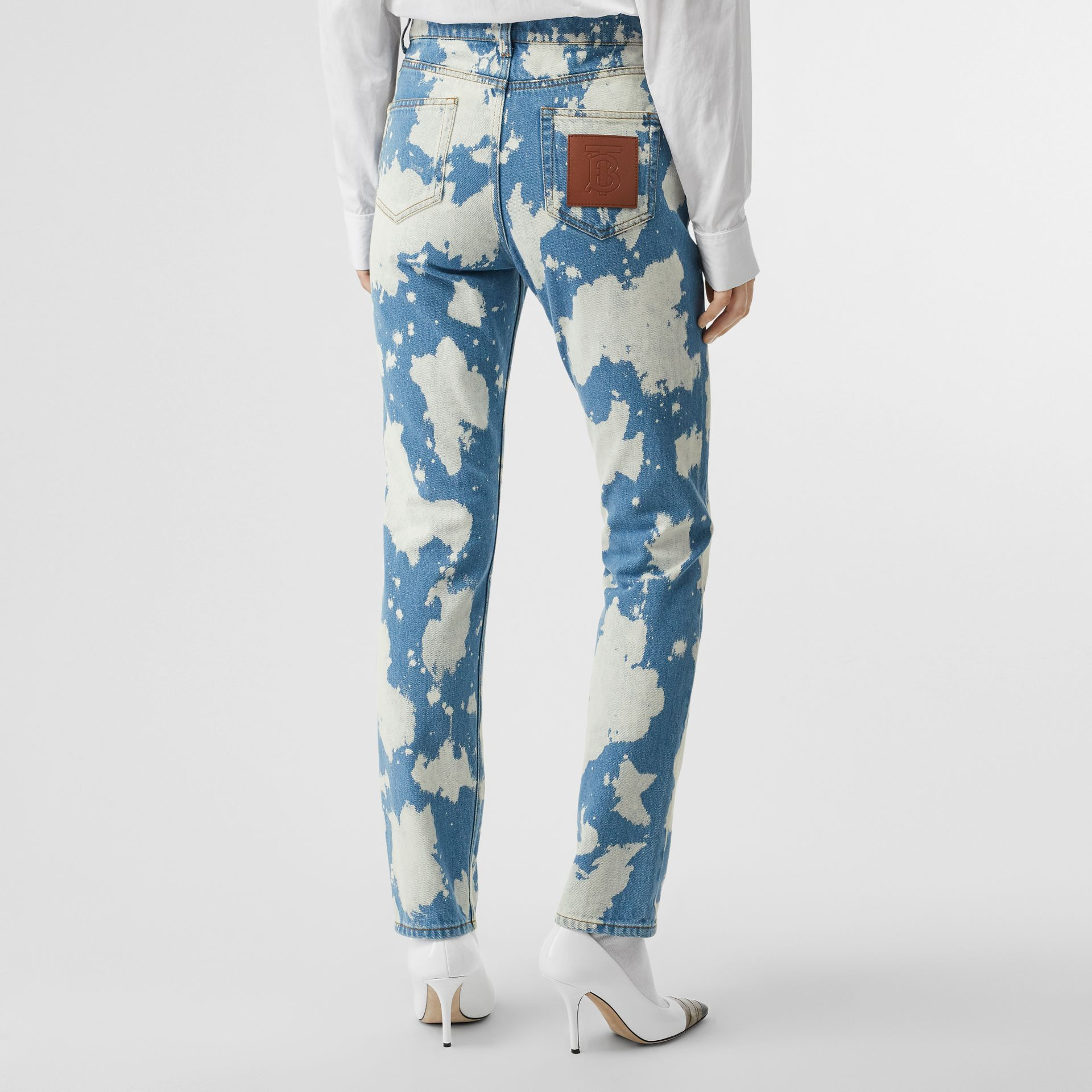 Straight Fit Monogram Motif Bleached Denim Jeans in Blue - Women | Burberry - gallery image 2