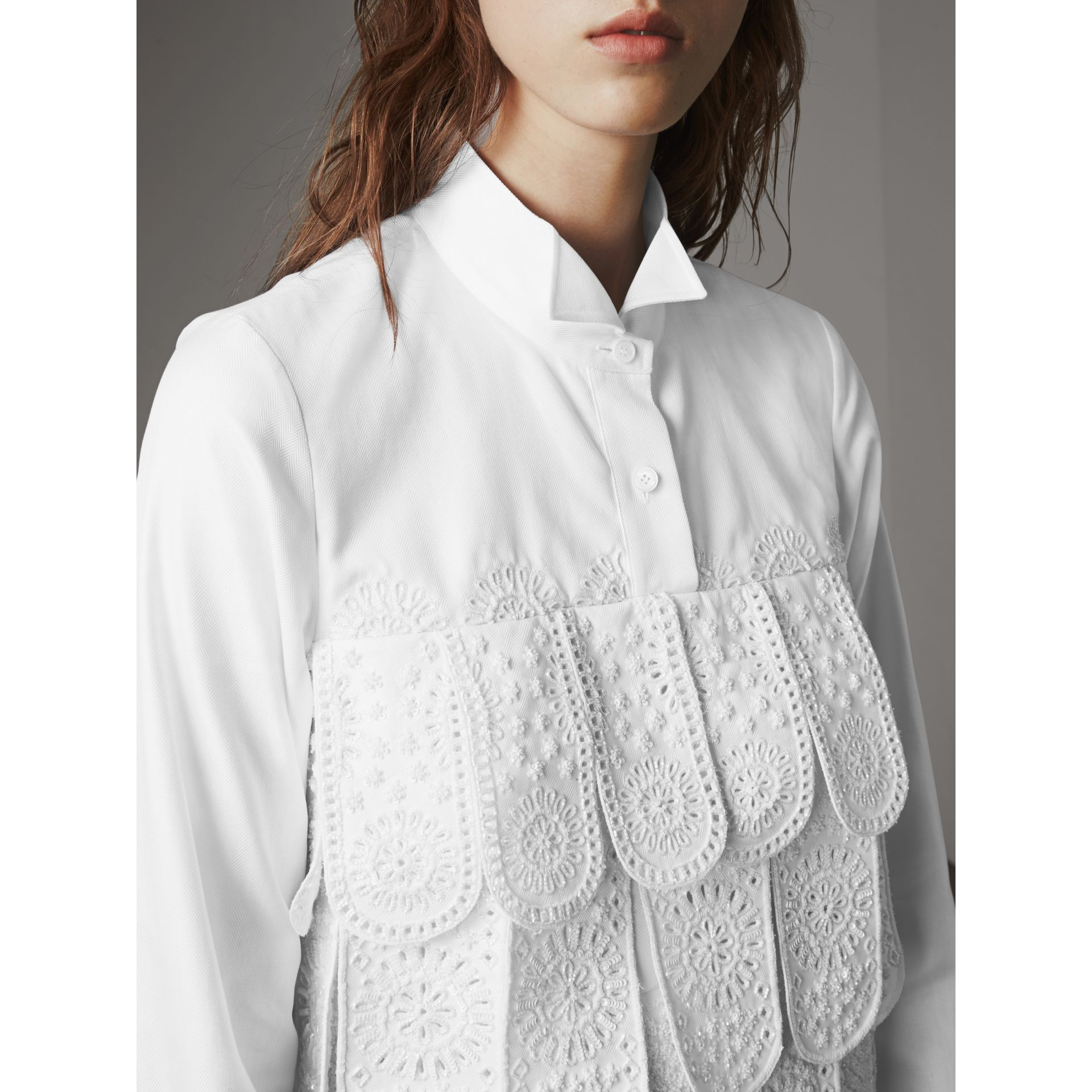 Scalloped Tier Embellished Cotton Shirt in White - Women | Burberry - gallery image 5