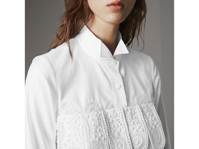 Scalloped Tier Embellished Cotton Shirt in White - Women | Burberry - cell image 4