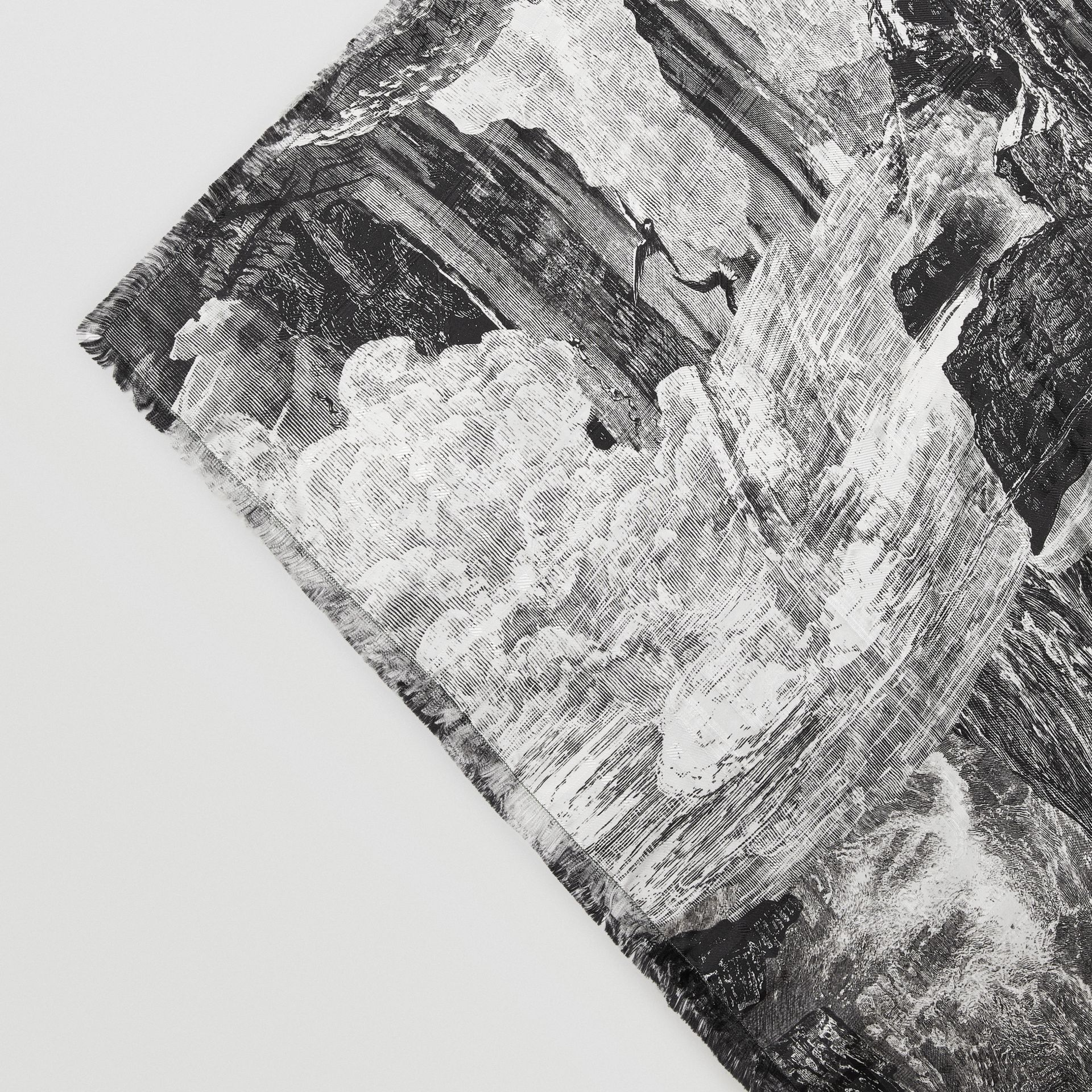 Dreamscape Print Check Silk Jacquard Square Scarf in White | Burberry - gallery image 1