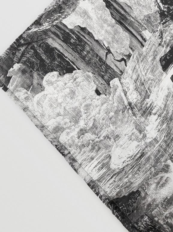 Dreamscape Print Check Silk Jacquard Square Scarf in White | Burberry - cell image 1