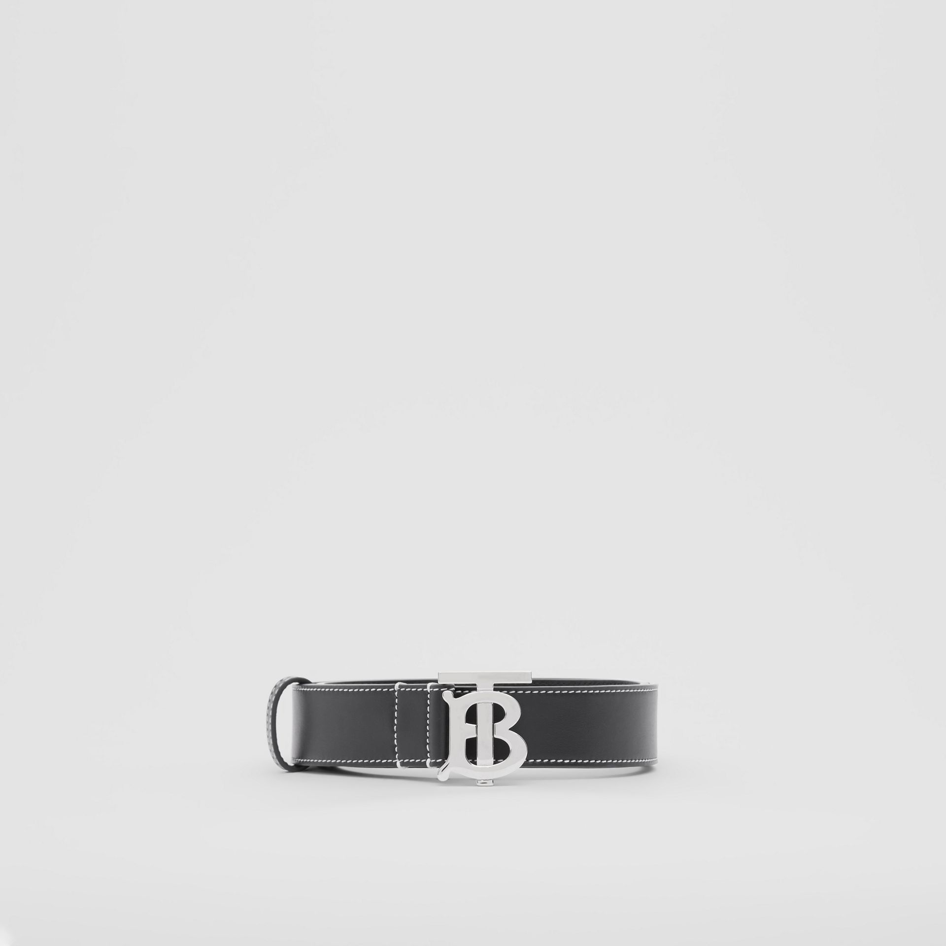 Monogram Motif Topstitched Leather Belt in Black - Men | Burberry - gallery image 3