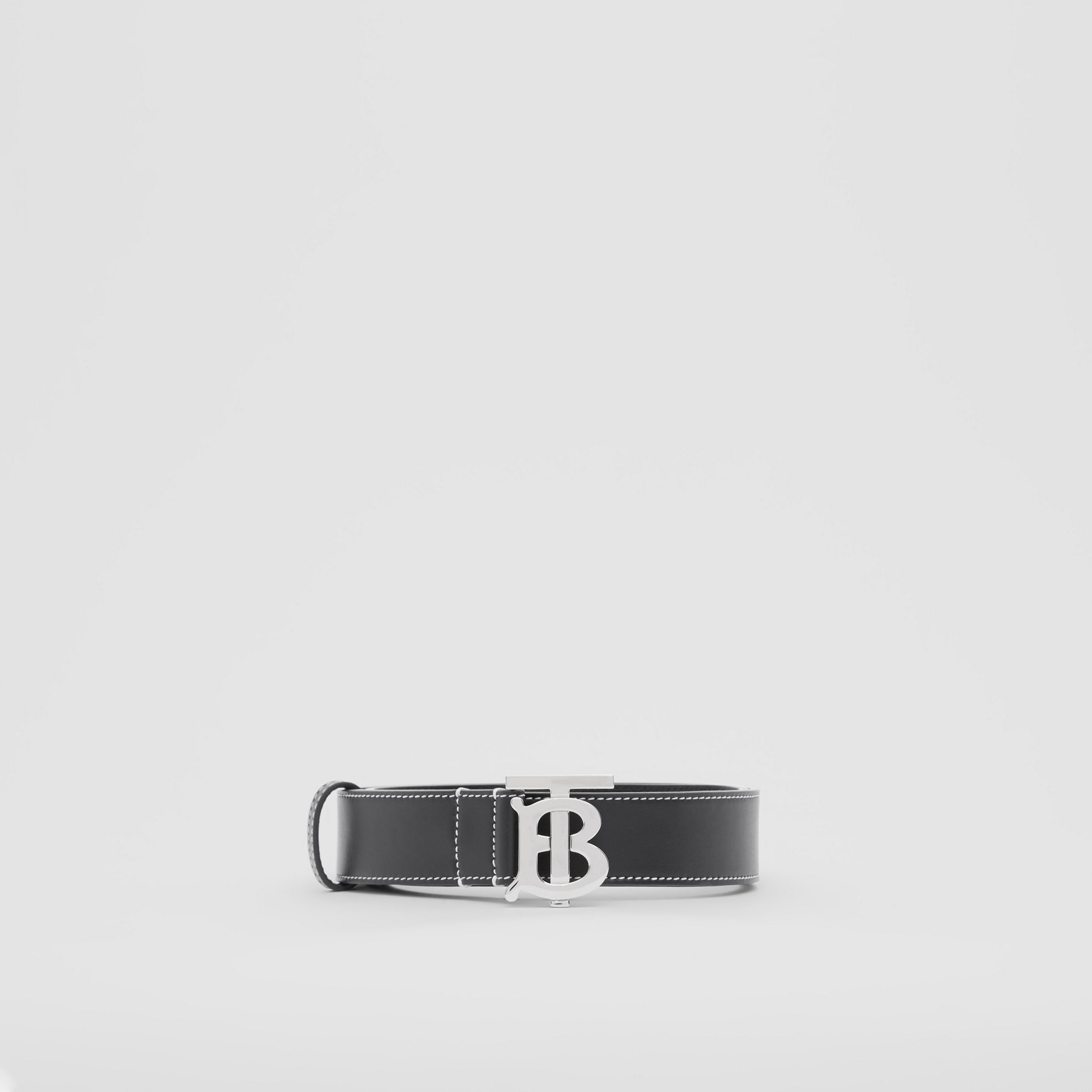Monogram Motif Topstitched Leather Belt in Black - Men | Burberry - 4