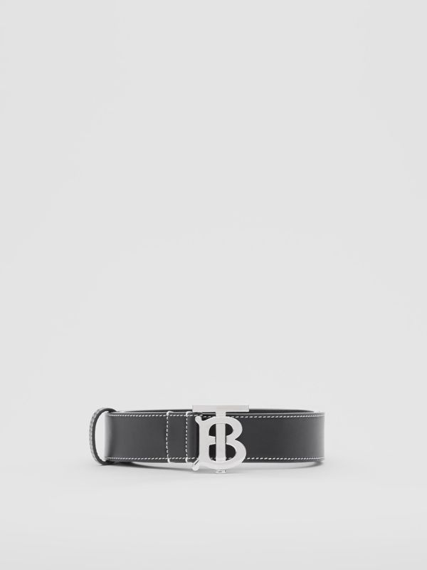 Monogram Motif Topstitched Leather Belt in Black - Men | Burberry - cell image 3