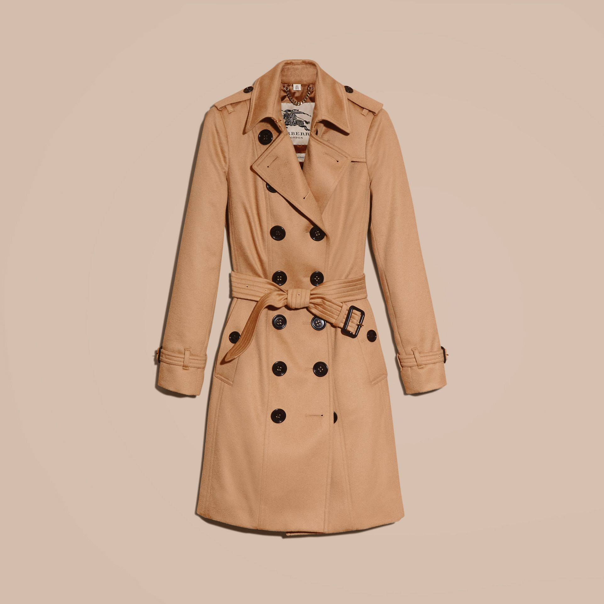 Sandringham Fit Cashmere Trench Coat Camel - gallery image 4
