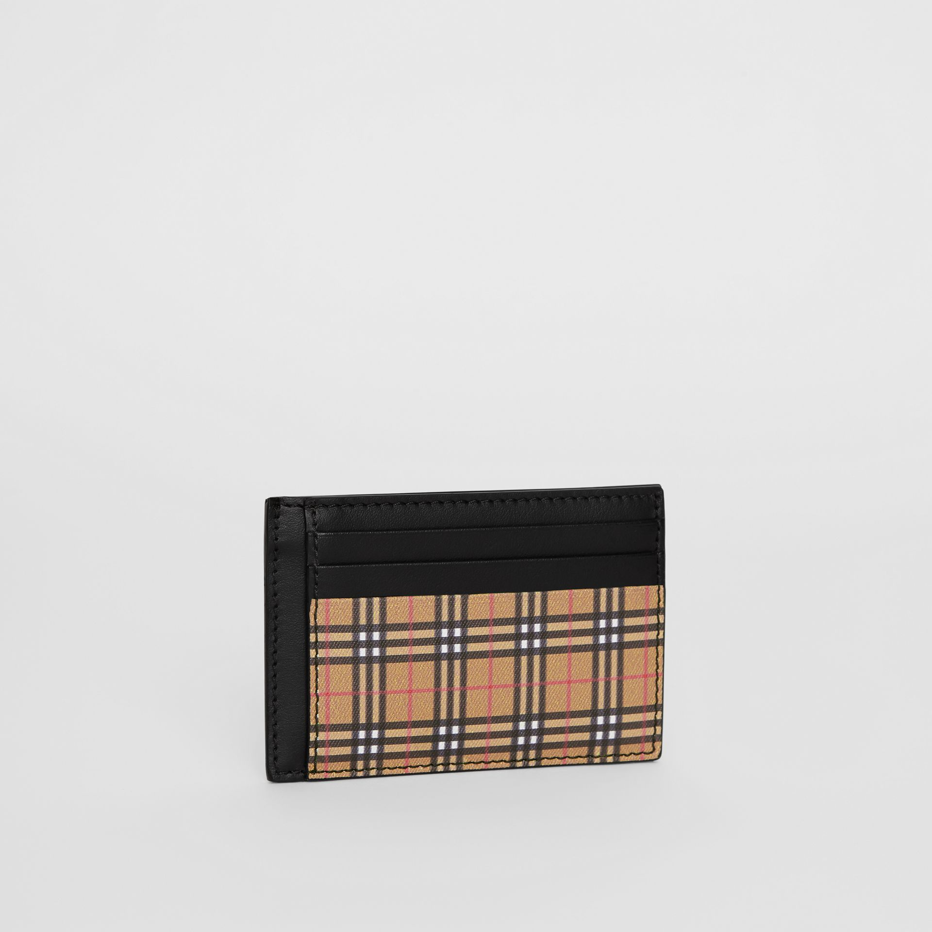 Small Scale Check and Leather Money Clip Card Case in Antique Yellow/black - Men | Burberry - gallery image 4