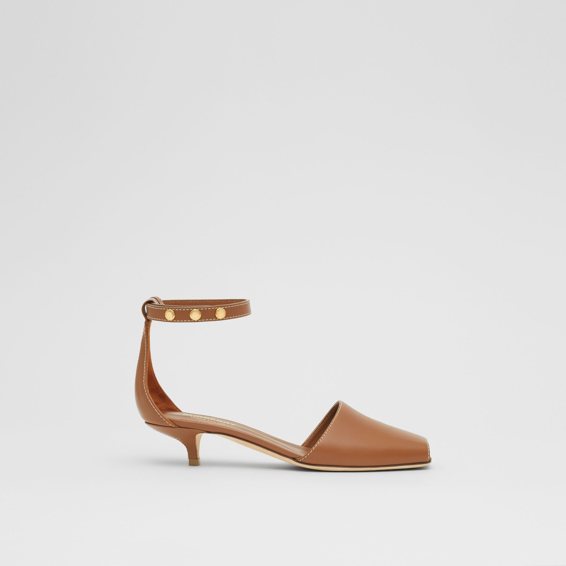 Triple Stud Leather Kitten-heel Sandals in Tan - Women | Burberry - gallery image 4