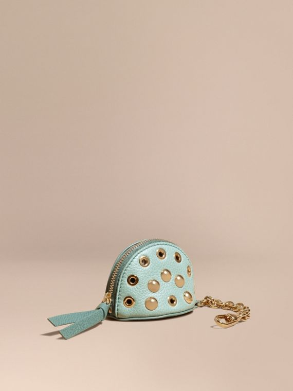 Eyelet and Rivet Detail Leather Coin Case