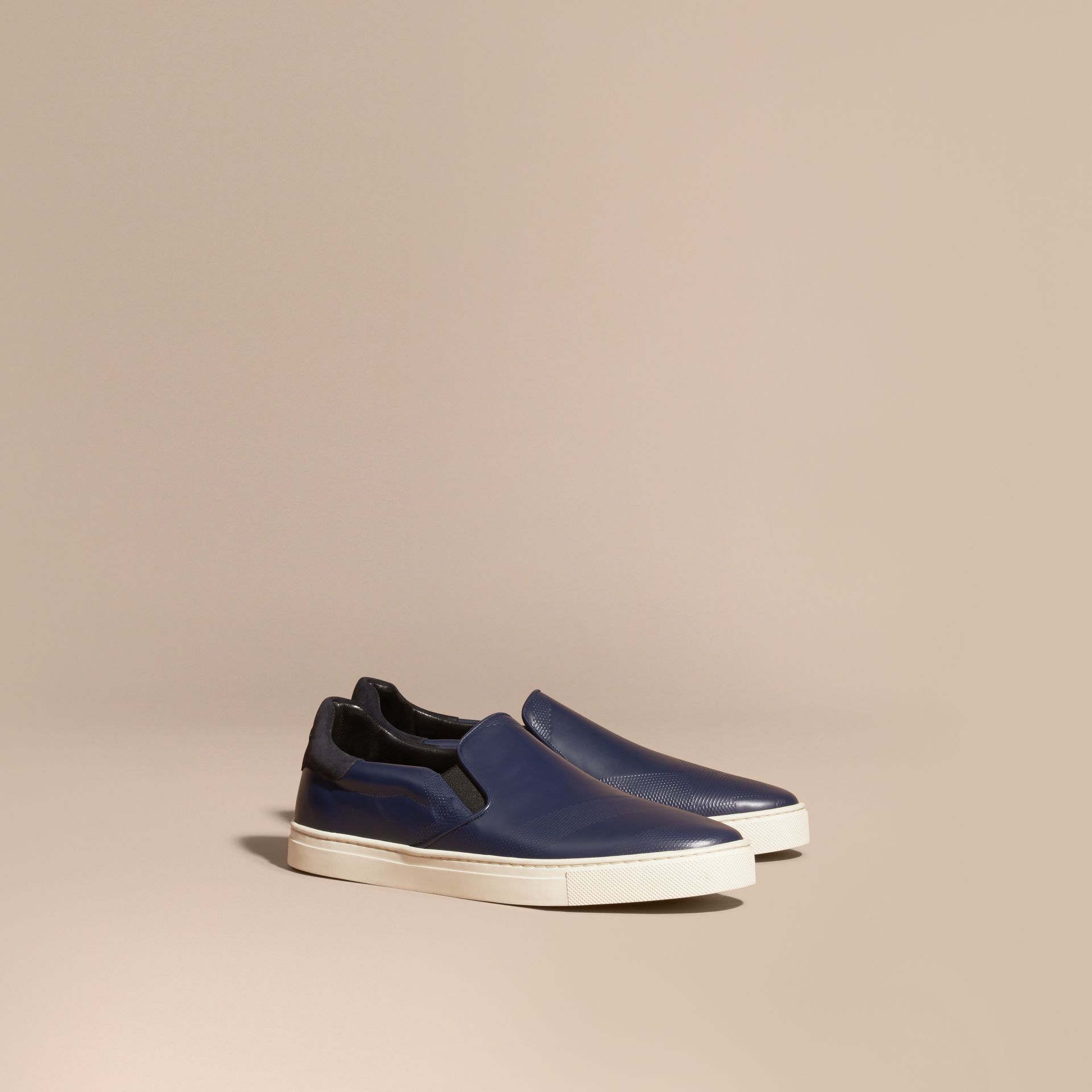 Lapis blue Check-embossed Leather Slip-on Trainers - gallery image 1