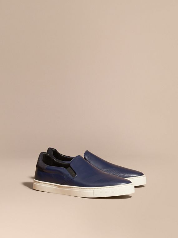 Check-embossed Leather Slip-on Trainers