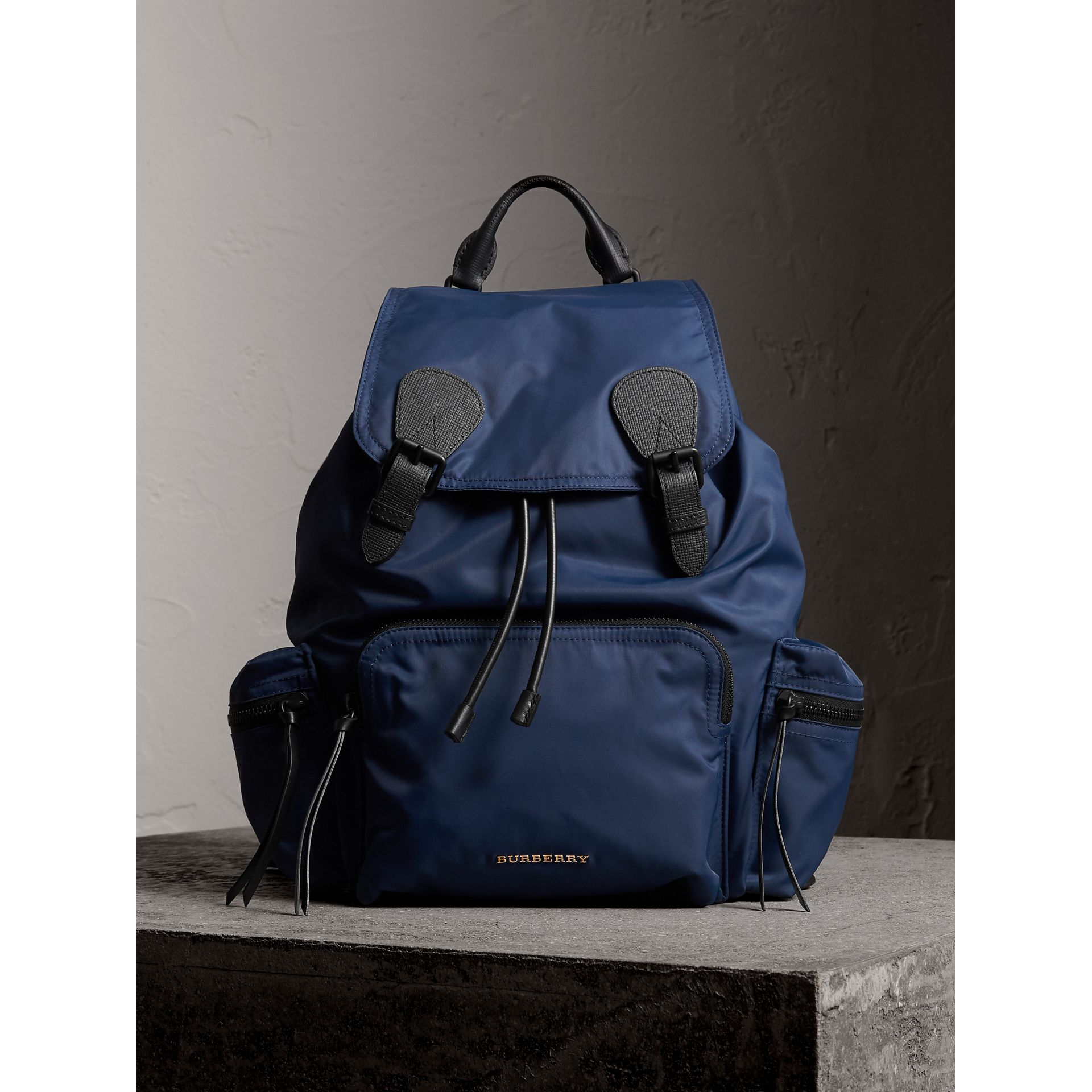 The Large Rucksack in Technical Nylon and Leather in Steel Blue - Men | Burberry Australia - gallery image 1