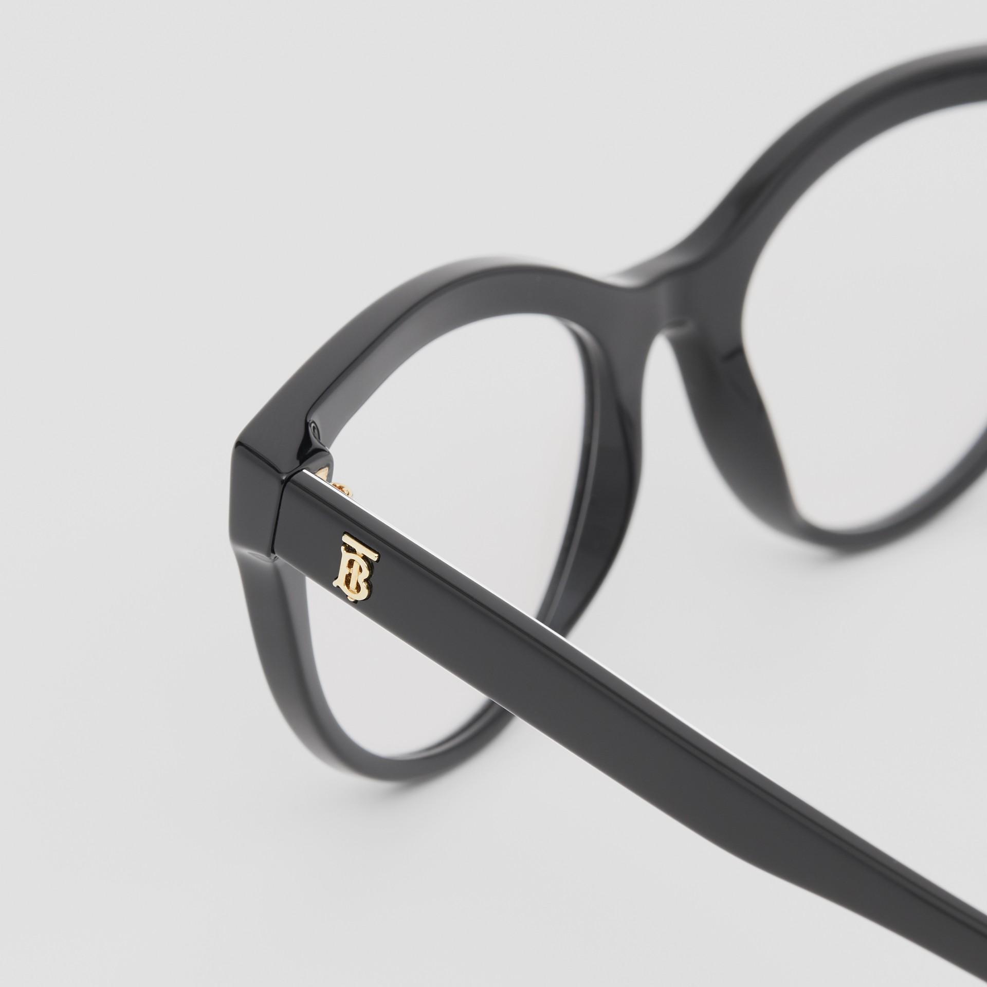 Monogram Print Detail Cat-eye Optical Frames in Black/vermilion - Women | Burberry Canada - gallery image 1