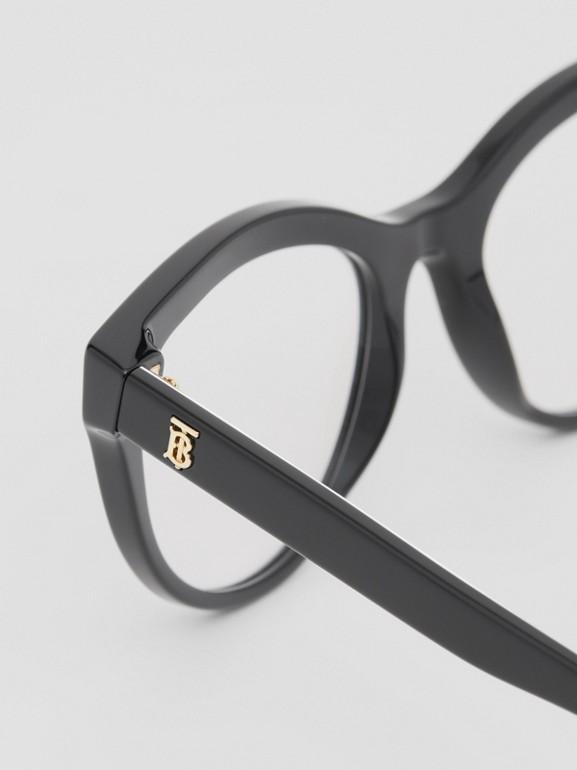 Monogram Print Detail Cat-eye Optical Frames in Black/vermilion - Women | Burberry Canada - cell image 1