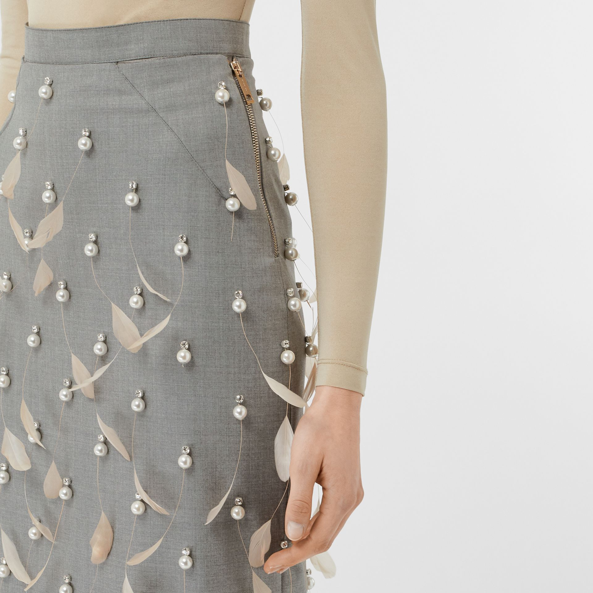 Embellished Wool Pencil Skirt in Flint - Women | Burberry Canada - gallery image 5