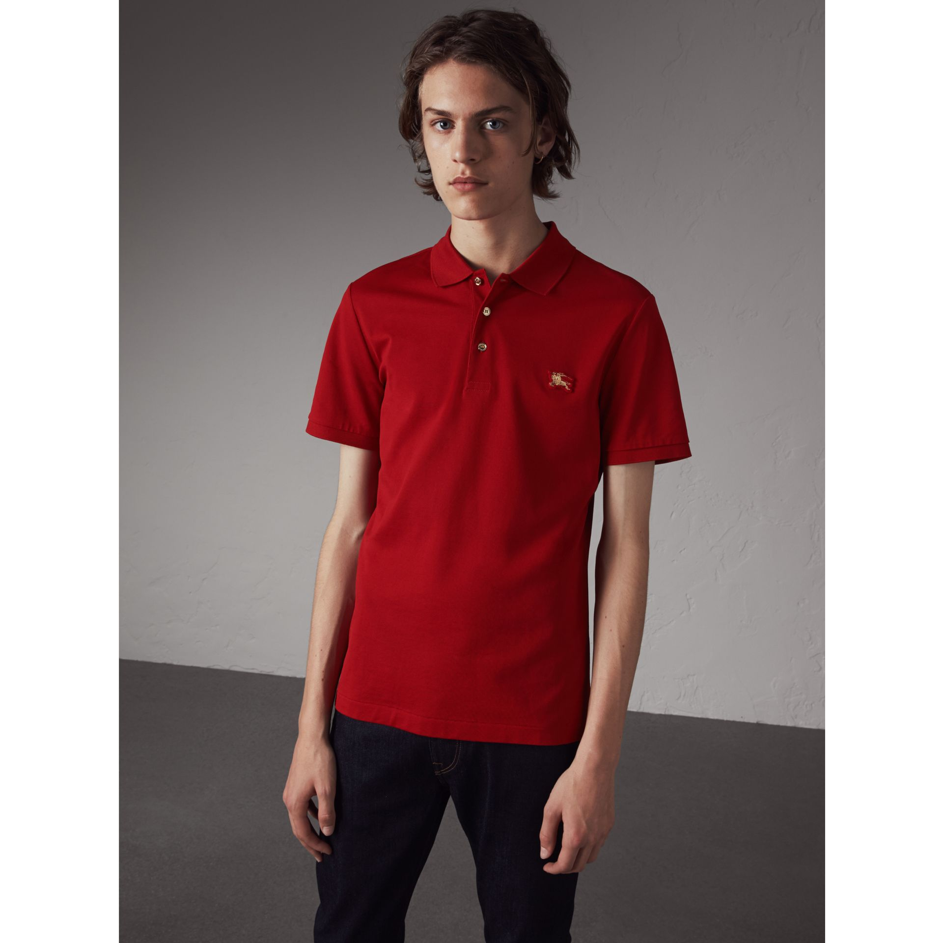 Cotton Piqué Polo Shirt in Military Red - Men | Burberry - gallery image 1