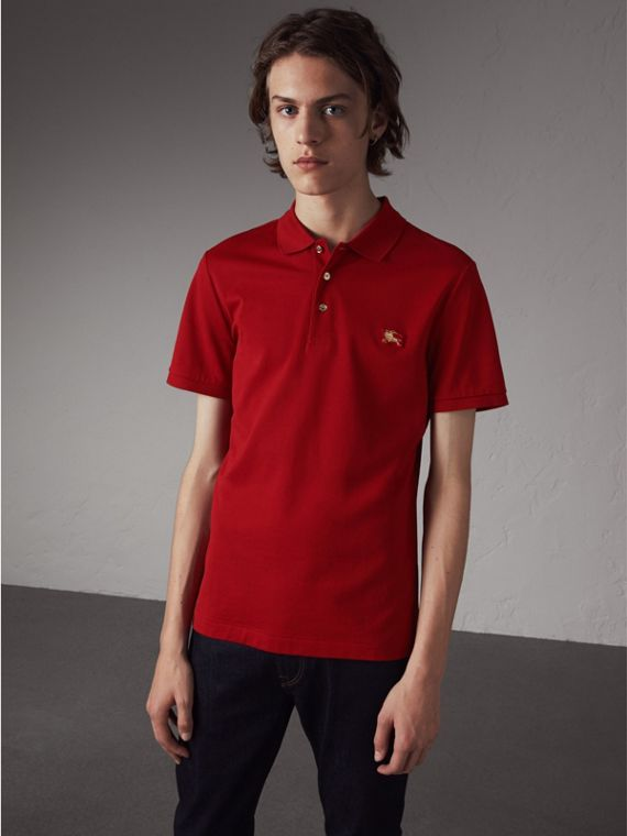 Cotton Piqué Polo Shirt in Military Red - Men | Burberry