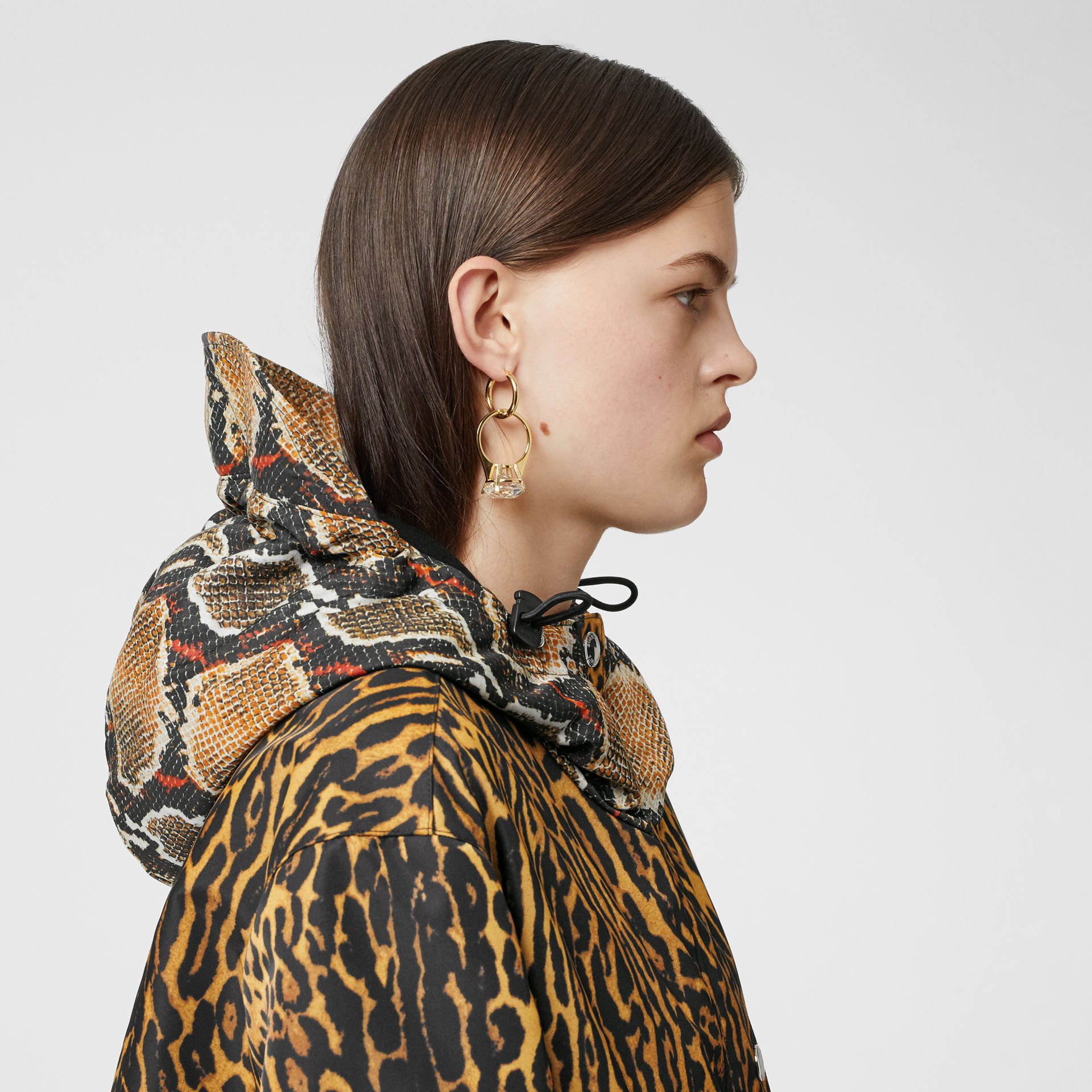 Animal Print Nylon Twill Parka in Honey - Women | Burberry - gallery image 6