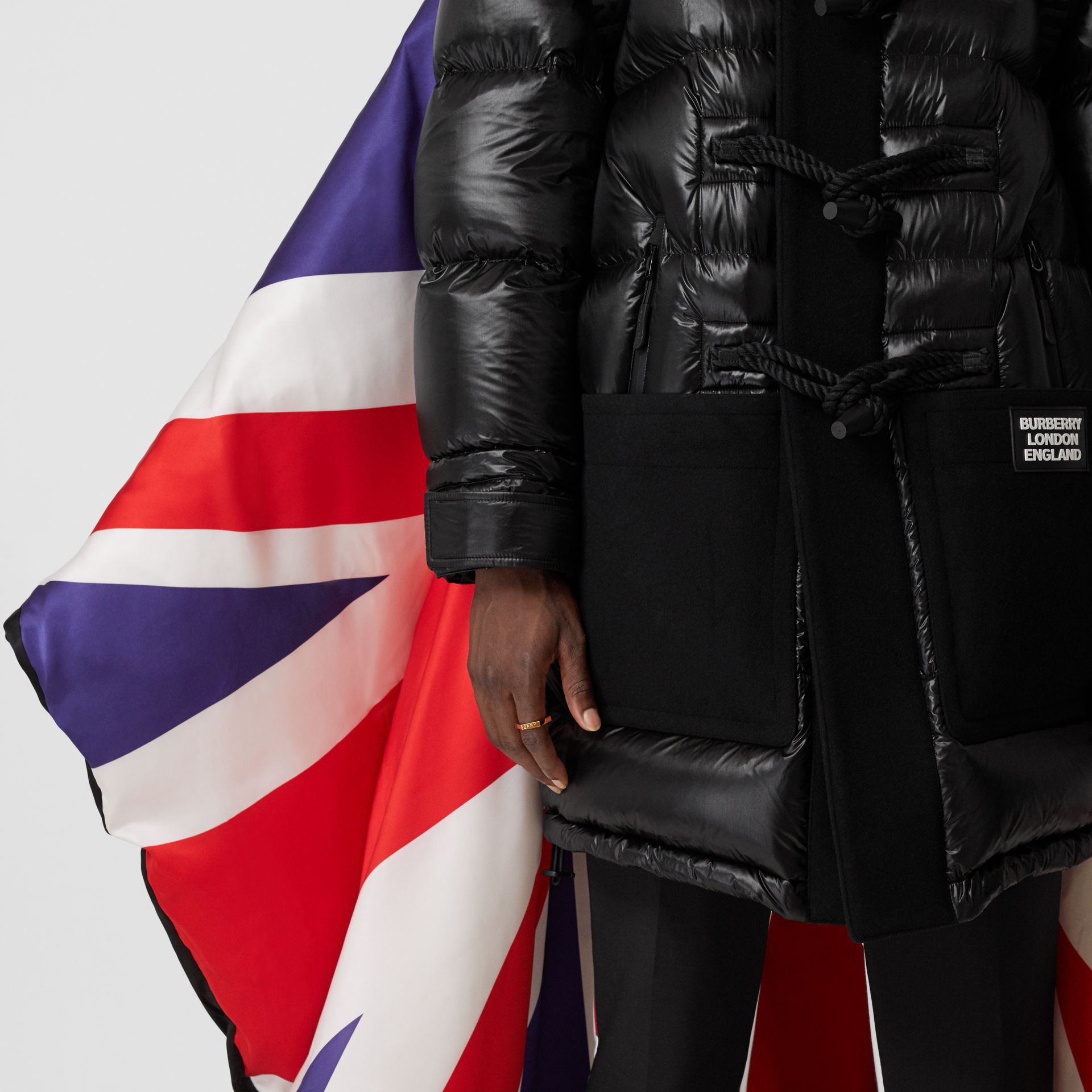Union Jack and Logo Print Oversized Puffer Cape in Multicolour | Burberry United States - gallery image 5