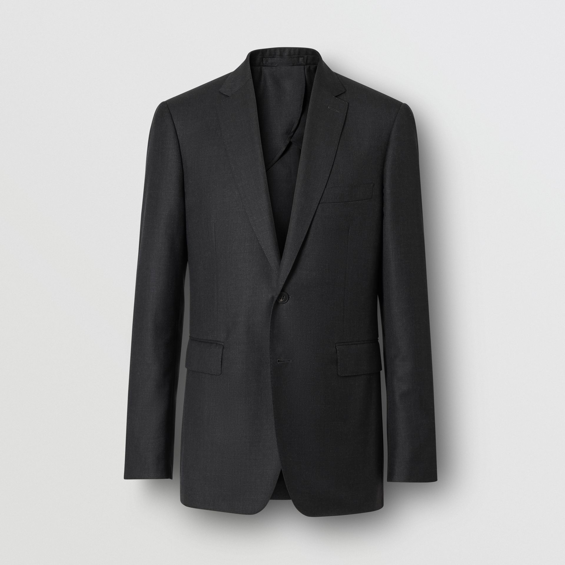Slim Fit Wool Silk Linen Suit in Dark Grey Melange - Men | Burberry - gallery image 3