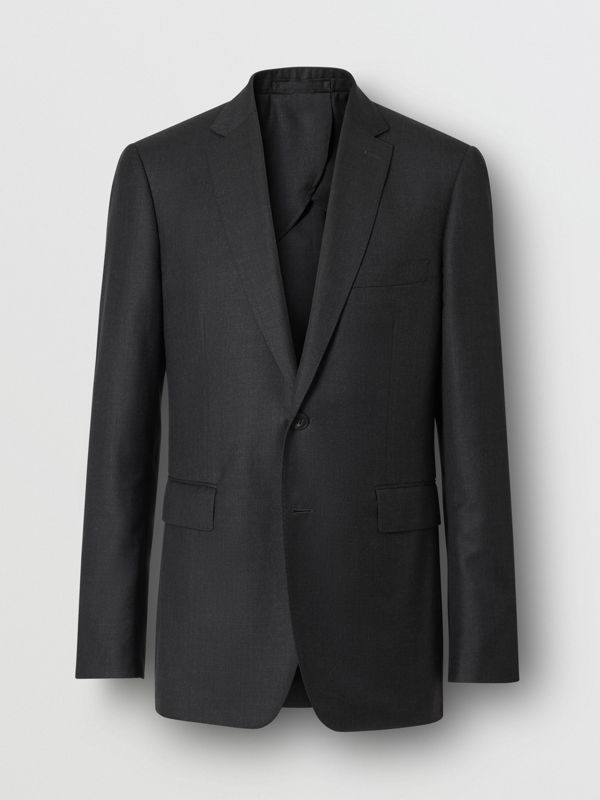 Slim Fit Wool Silk Linen Suit in Dark Grey Melange - Men | Burberry United Kingdom - cell image 3