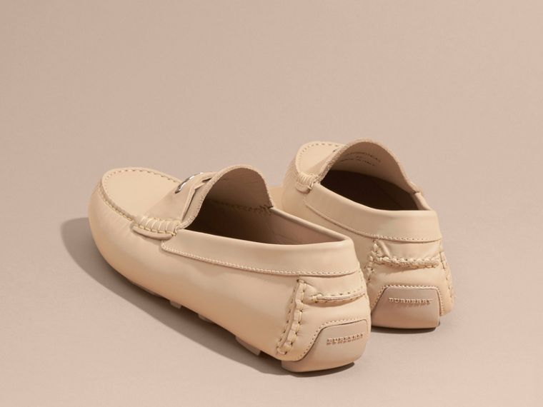 Leather Loafers with Engraved Check Detail Beige - cell image 4