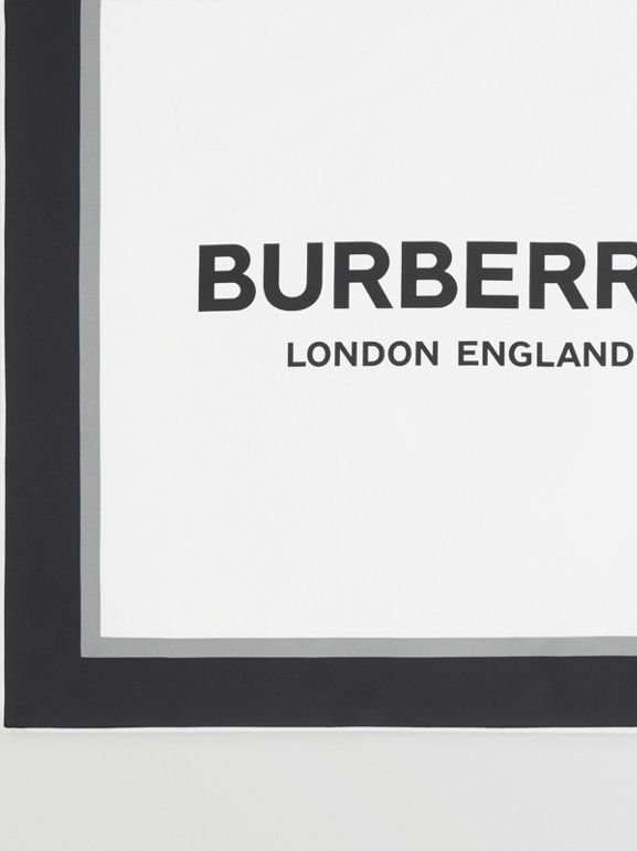 Montage and Logo Print Silk Scarf in Monochrome | Burberry - cell image 1