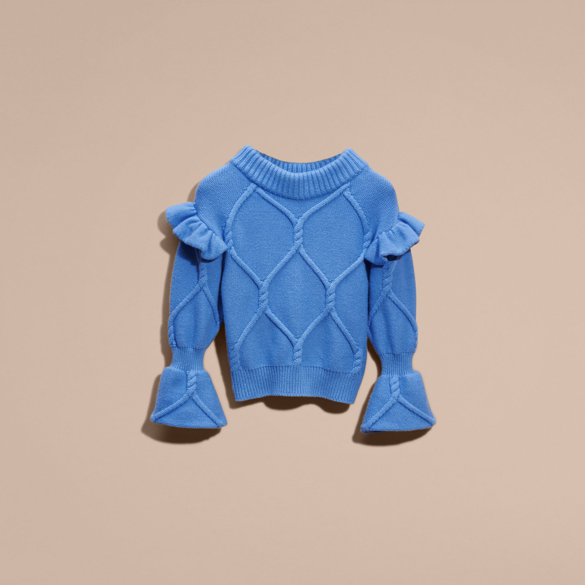 Hydrangia blue Cable Knit Wool Cashmere Sweater with Ruffle Bell Sleeves Hydrangia Blue - gallery image 4