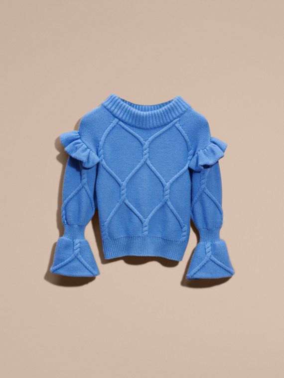 Hydrangia blue Ruffle-sleeved Cable Knit Wool Cashmere Sweater - cell image 3