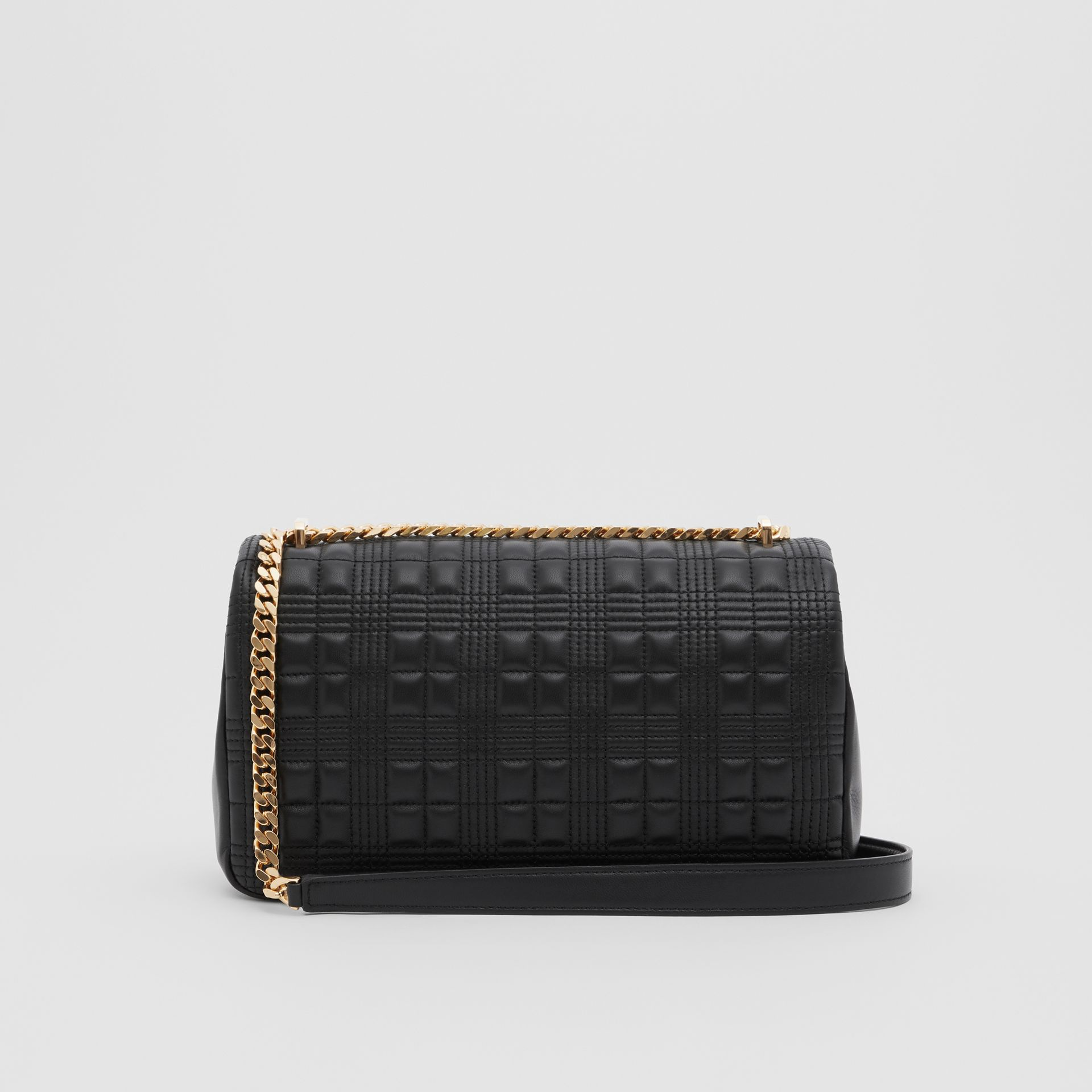 Medium Quilted Check Lambskin Lola Bag in Black - Women | Burberry - gallery image 5