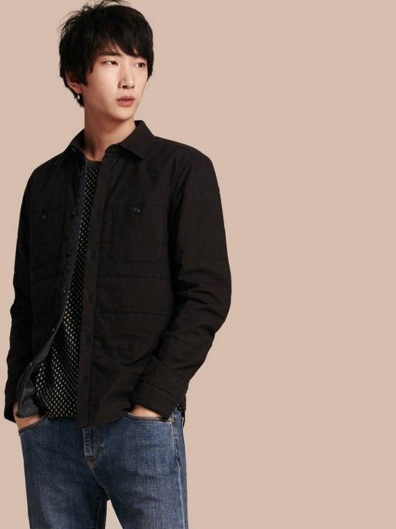 Jaqueta overshirt de lã e algodão com textura acolchoada