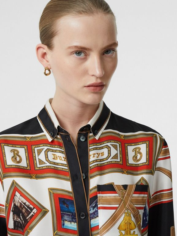 Button-down Collar Collage Scarf Print Silk Shirt in Black - Women | Burberry - cell image 1