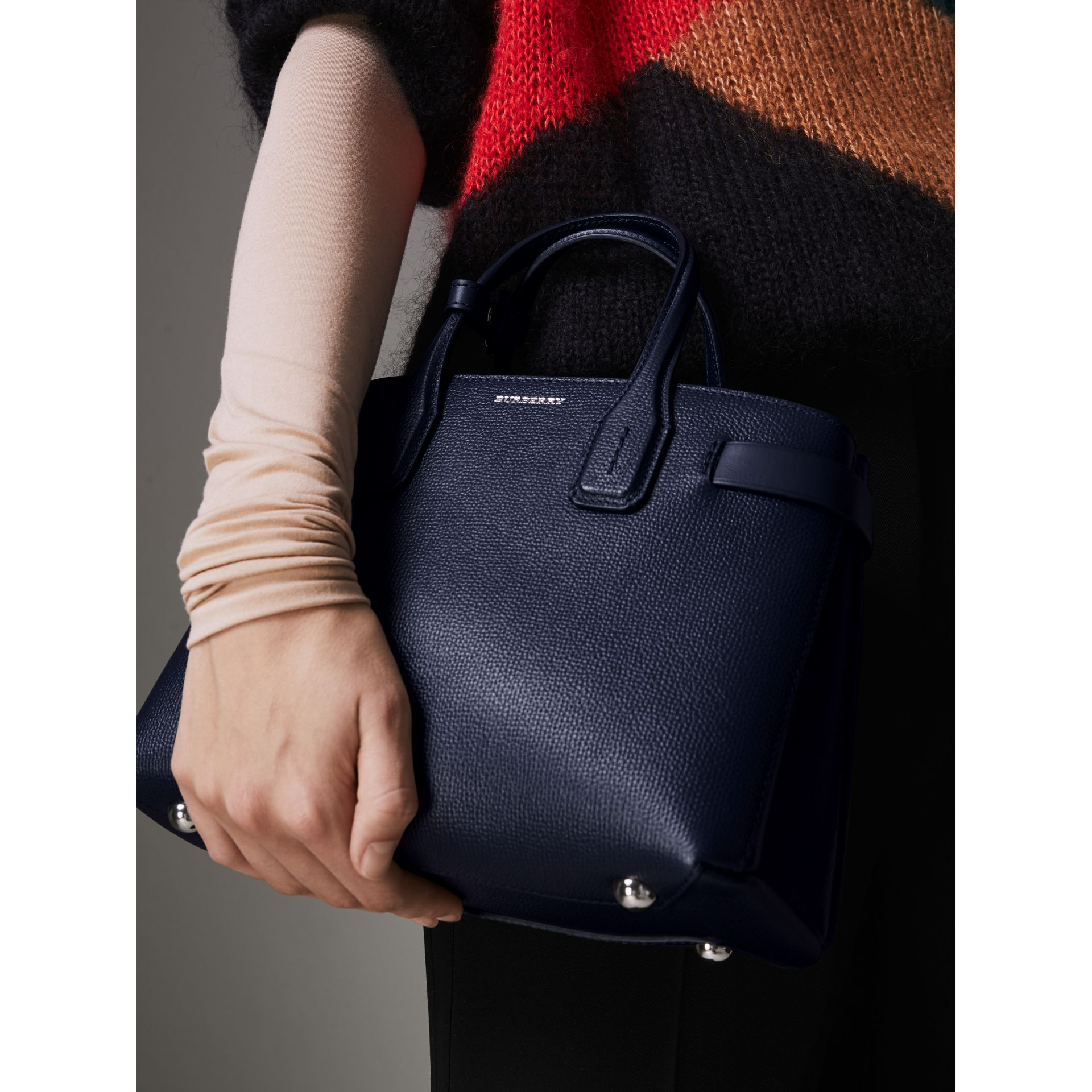 The Small Banner in Leather and Vintage Check in Regency Blue - Women | Burberry Australia - gallery image 3