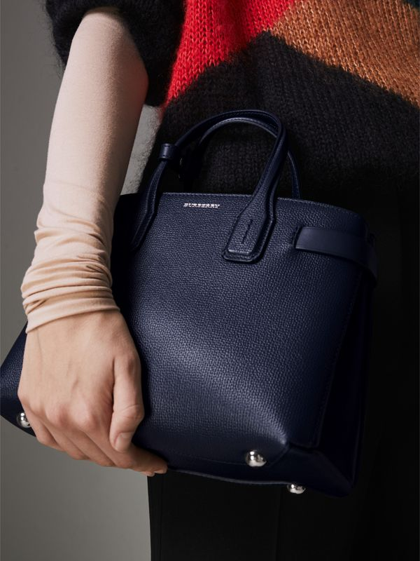 The Small Banner in Leather and Vintage Check in Regency Blue - Women | Burberry Australia - cell image 3