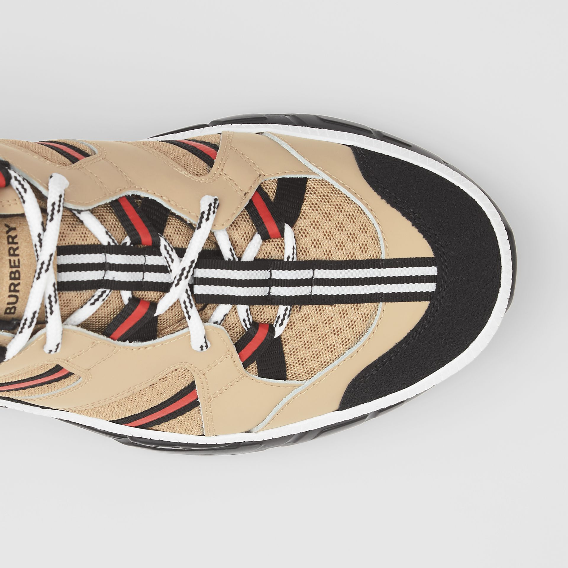 Mesh and Leather Union Sneakers in Beige - Men | Burberry - gallery image 6