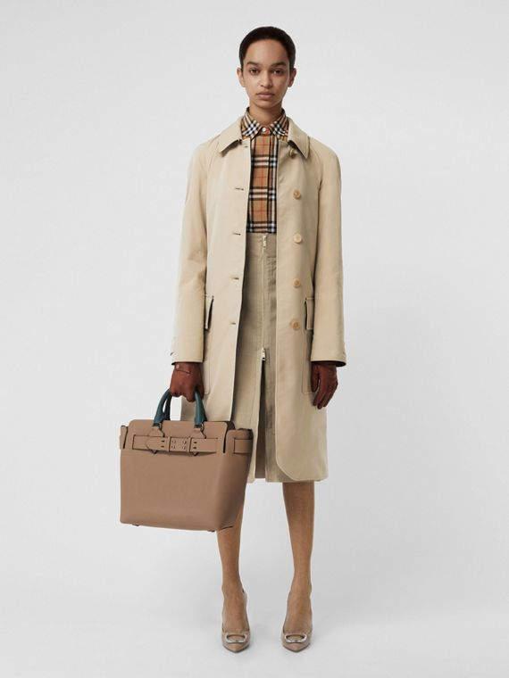 Wool-lined Tropical Gabardine Car Coat in Honey