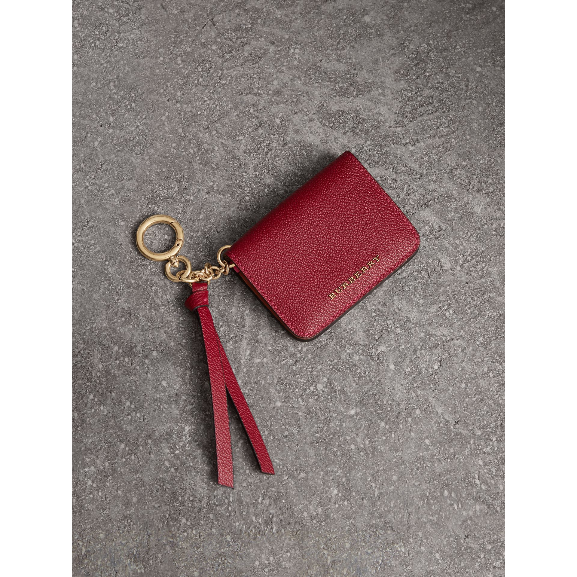Leather and Haymarket Check ID Card Case Charm in Parade Red/multicolour - Women | Burberry Singapore - gallery image 0