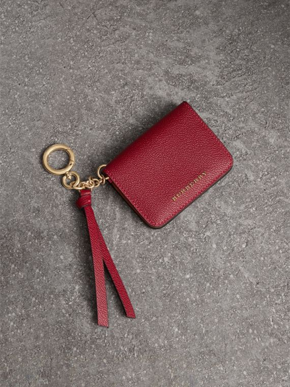 Leather and Haymarket Check ID Card Case Charm in Parade Red/multicolour