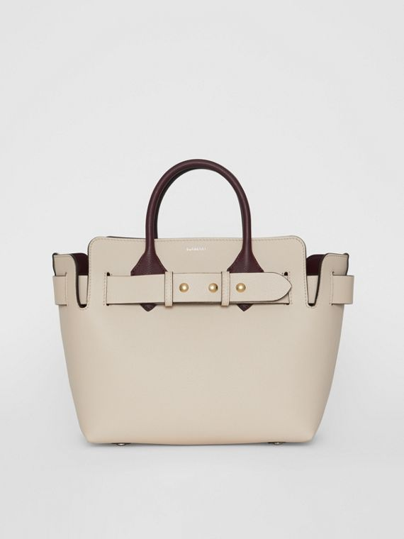 The Small Tri-tone Leather Triple Stud Belt Bag in Limestone/pale Drift