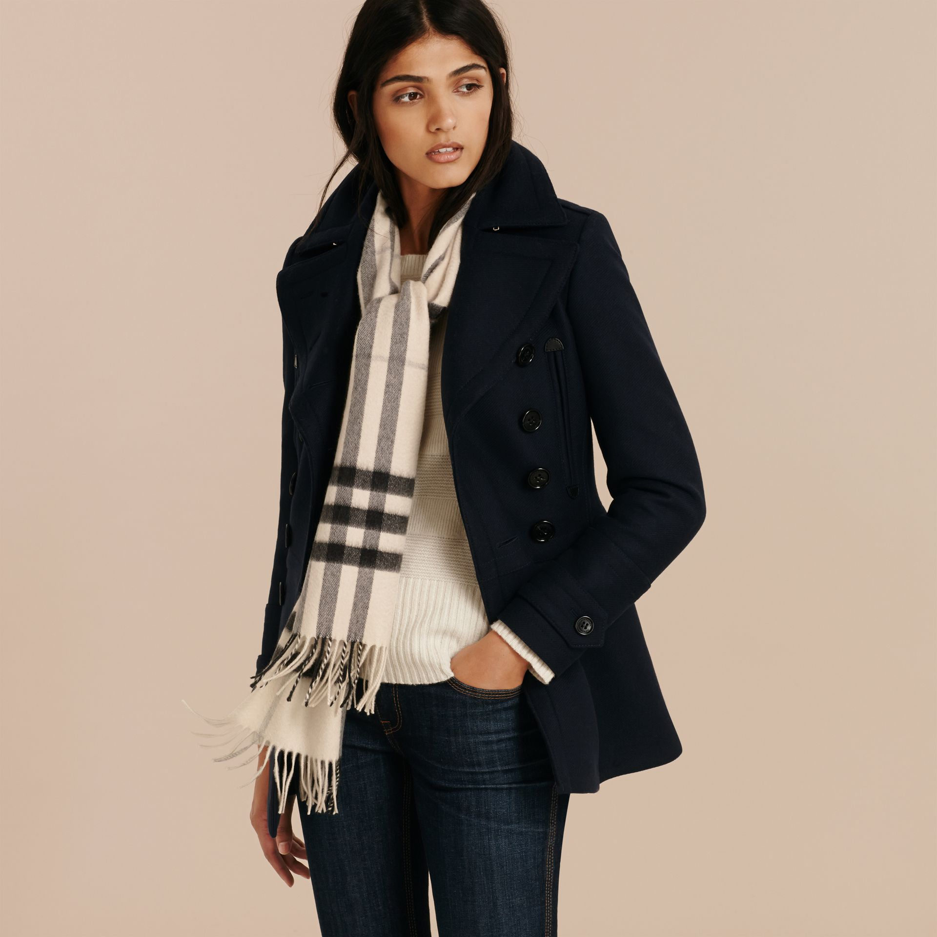 Natural white check The Classic Cashmere Scarf in Check Natural White - gallery image 3