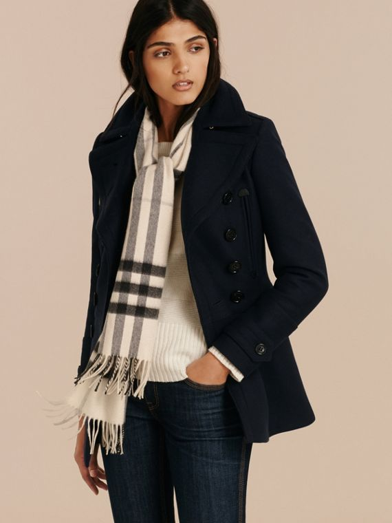 The Classic Cashmere Scarf in Check in Natural White - cell image 2