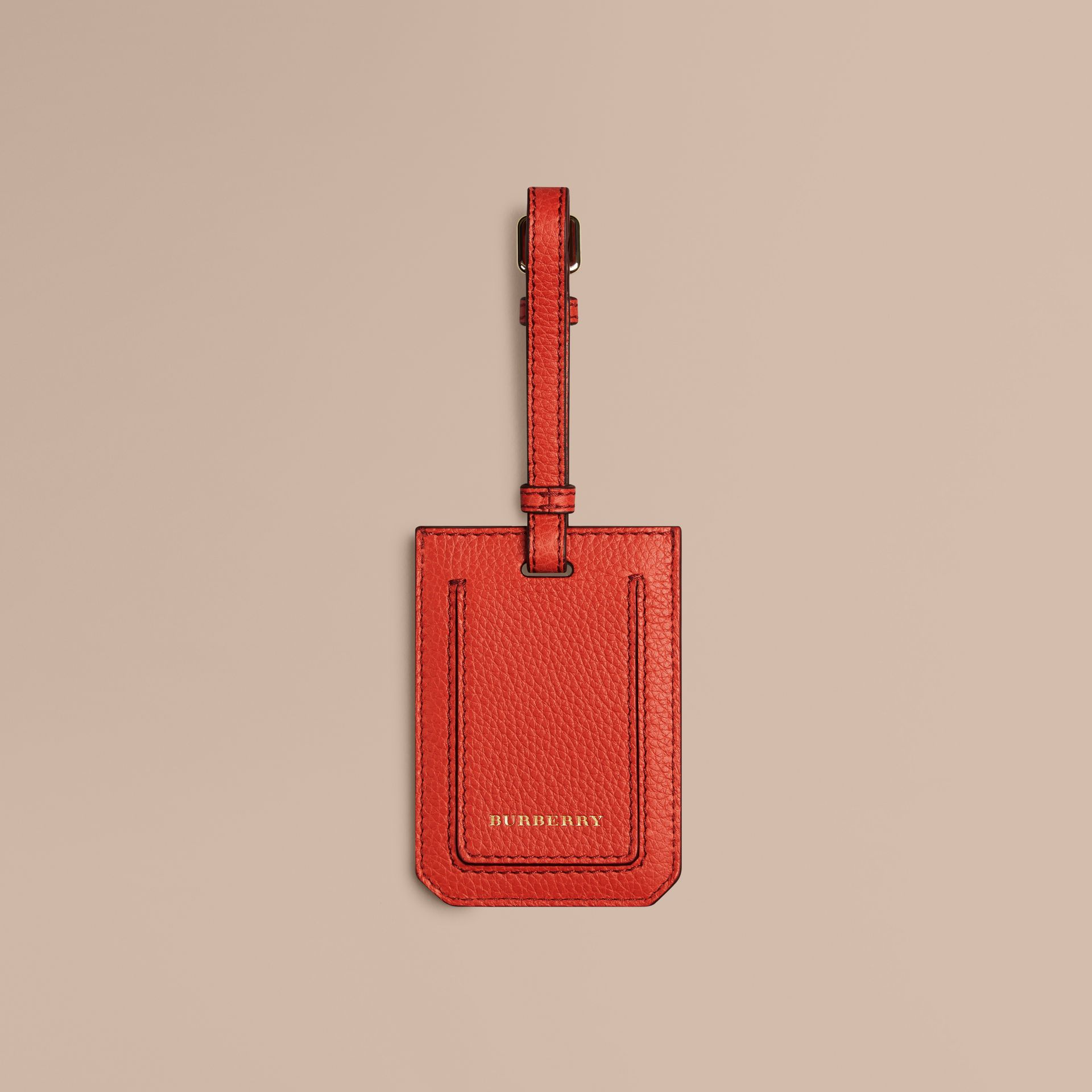 Grainy Leather Luggage Tag in Orange Red | Burberry Singapore - gallery image 1