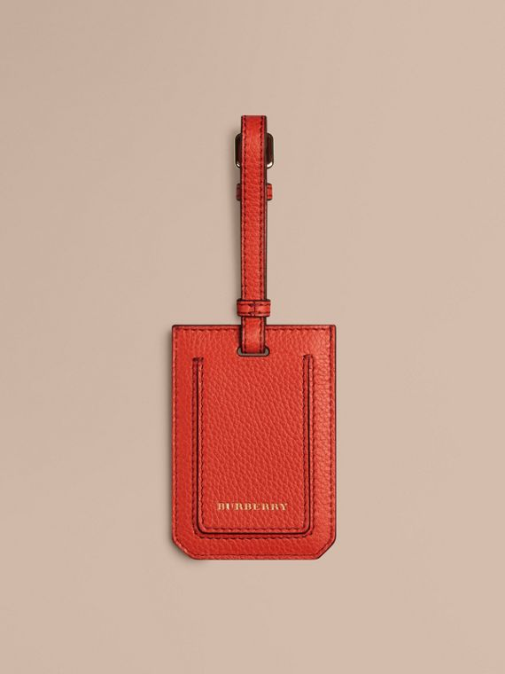 Grainy Leather Luggage Tag in Orange Red