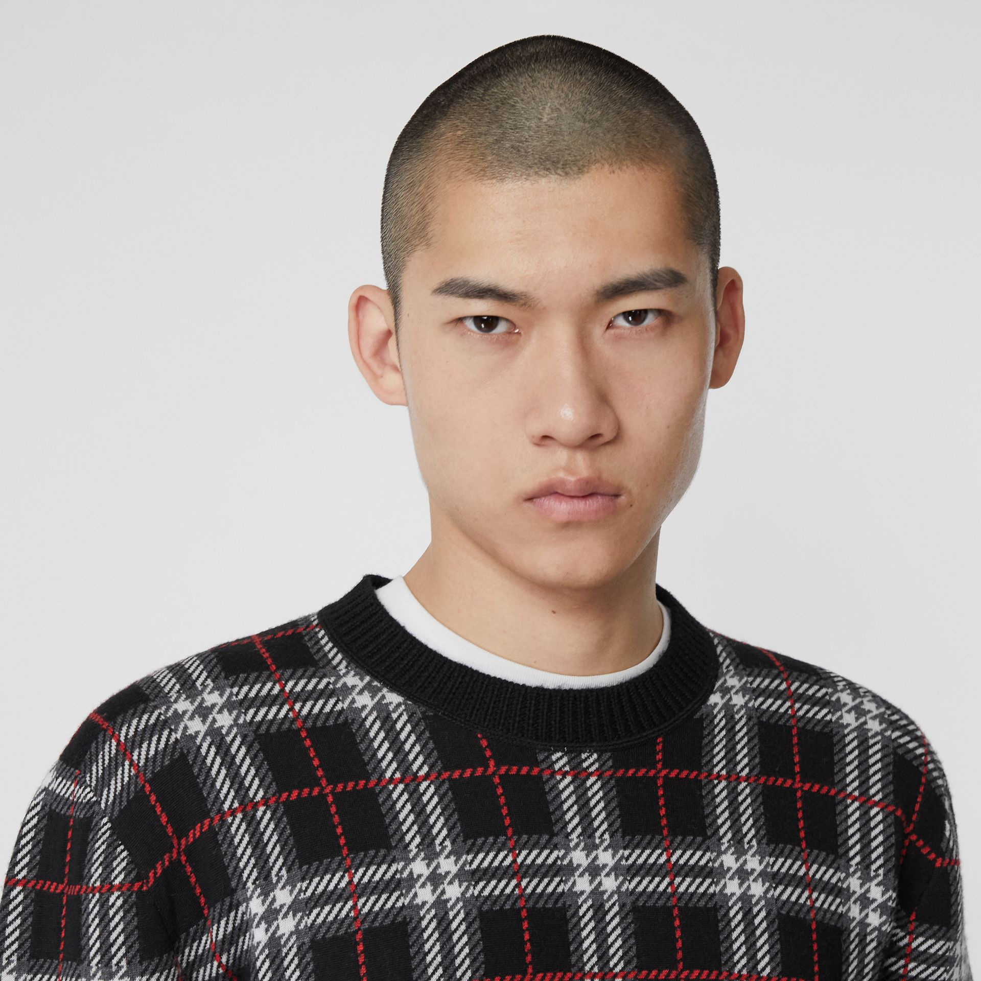 Check Merino Wool Jacquard Sweater in Black - Men | Burberry - gallery image 1