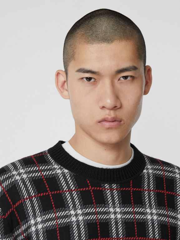Check Merino Wool Jacquard Sweater in Black - Men | Burberry - cell image 1
