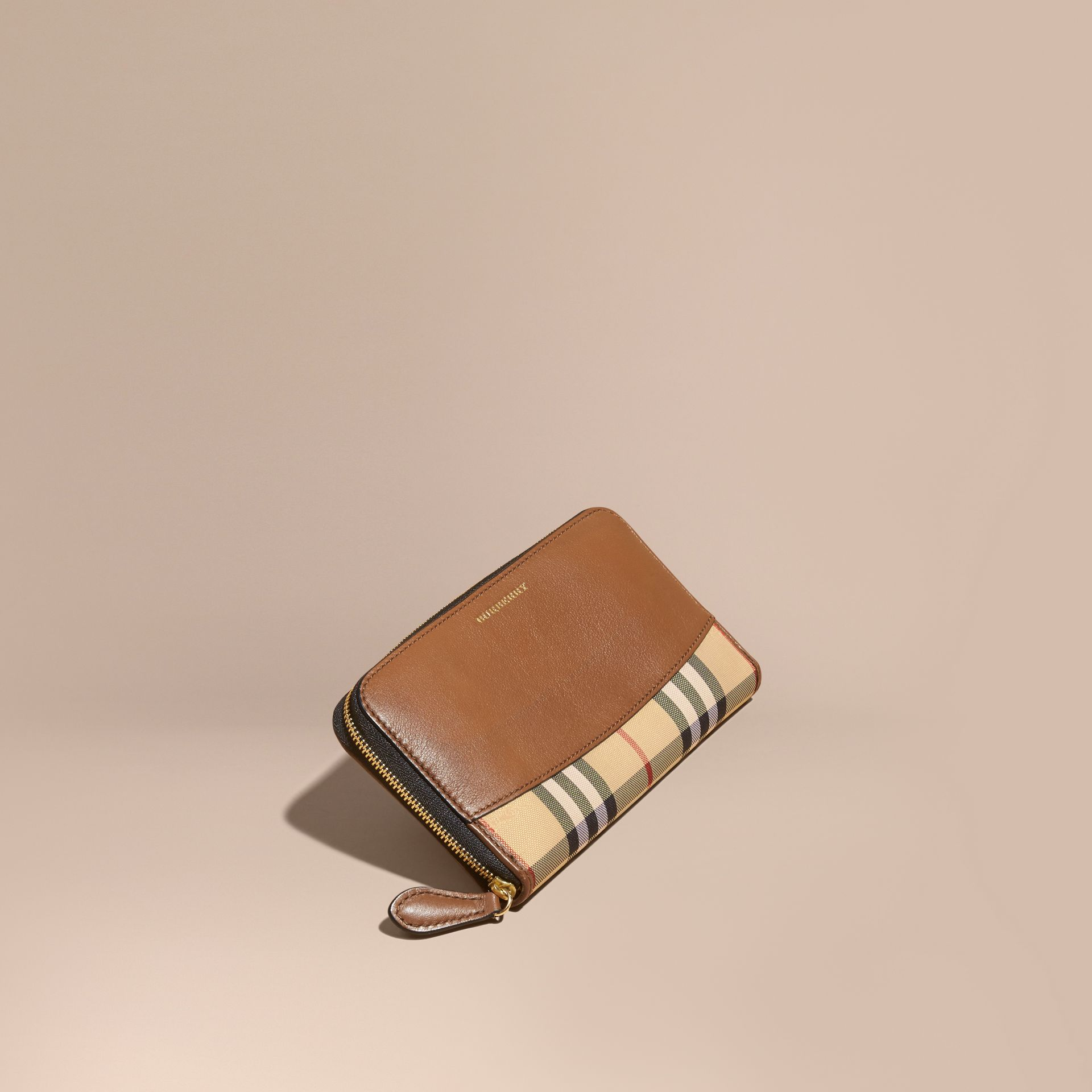 Horseferry Check and Leather Ziparound Wallet in Tan - Women | Burberry - gallery image 1